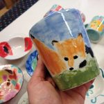 Pop Up Pottery hand painted mug with fox