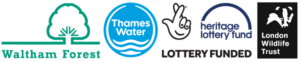 Walthamstow Wetlands partnership logos - LB Waltham Forest, Thames Water, Heritage Lottery Fund, London Wildlife Trust