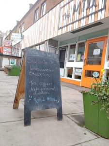 Sign outside The Mill saying Refill here