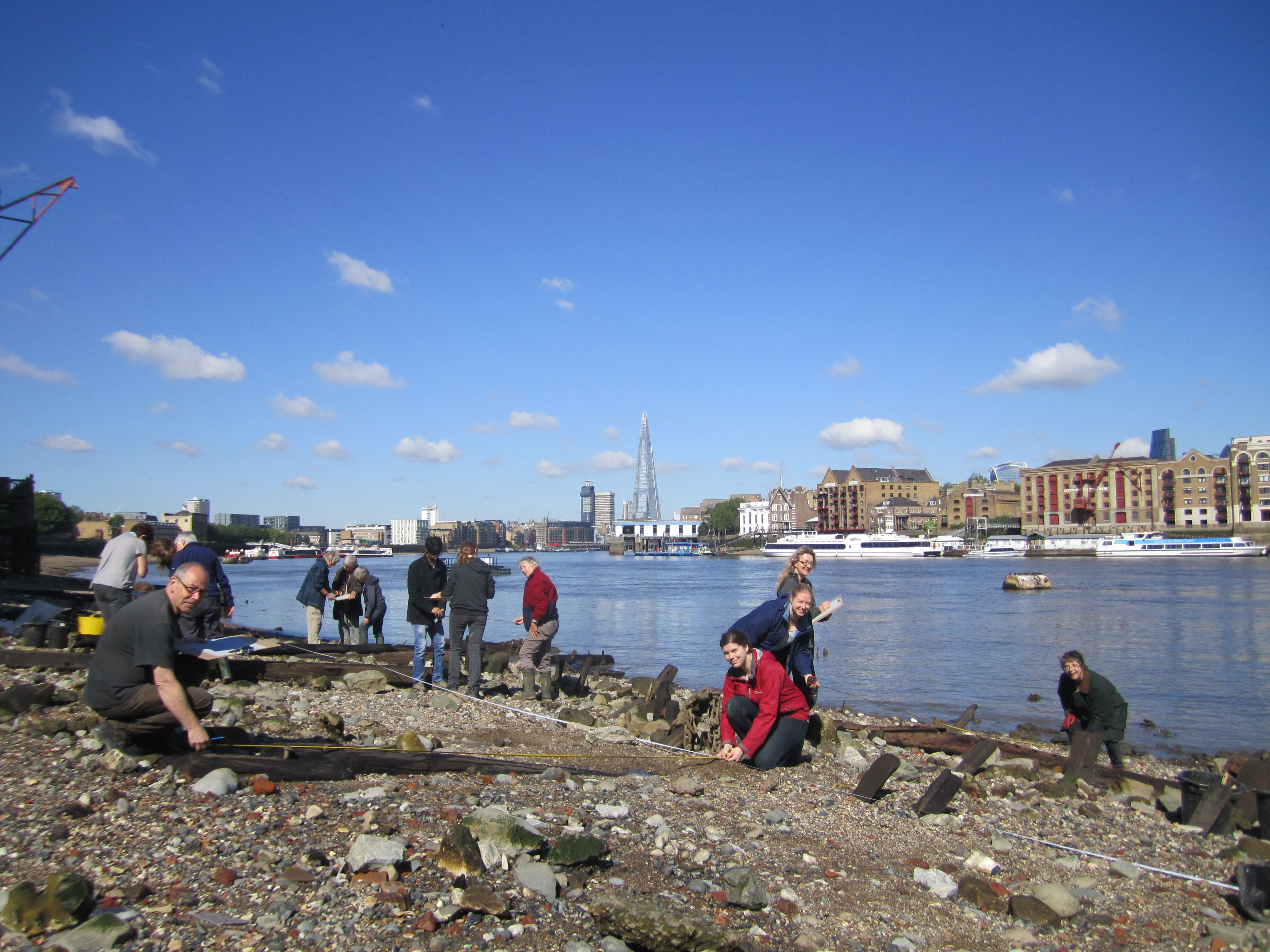 Thames Discovery Programme volunteers working on the foreshore at Rotherhithe